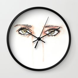 Her Eyes, Minimalist watercolor female eyes, NYC artist Wall Clock