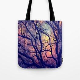 Black Trees Deep Pastels Space Tote Bag