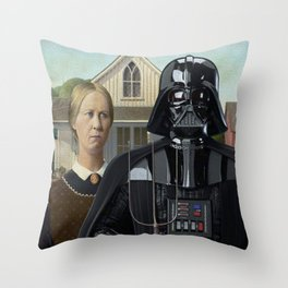 Darth Vader in American Gothic Throw Pillow