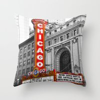 theater Throw Pillows featuring Chicago Theater by Chris Martin