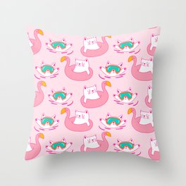 Cute Hand Drawn Swimming Cats Pattern Throw Pillow