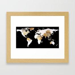 World Map Silhouette - Popcorn Framed Art Print