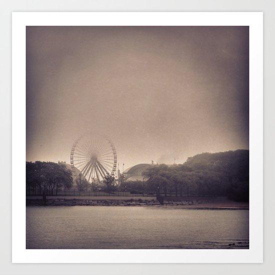 Vintage Navy Pier in Fog Art Print