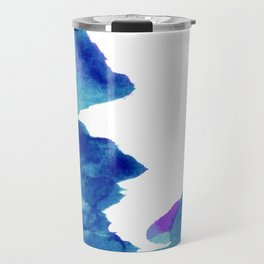 Blue, turquoise water cloud. Colorful watercolor painting Travel Mug