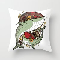 whales Throw Pillows featuring Whales by green penguin