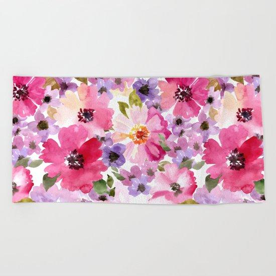 FLOWERS WATERCOLOR 6 Beach Towel