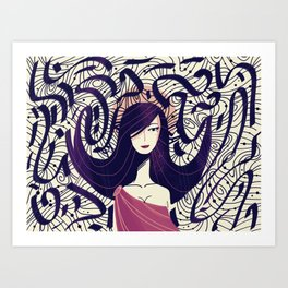 :::Dark Hair::: Art Print