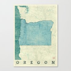 Oregon State Map Blue Vintage Canvas Print