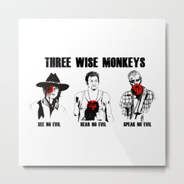 Three Wise Monkeys of the Dead Metal Print