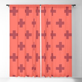 Swiss Cross Retro Red Blackout Curtain