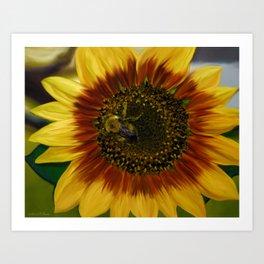 Painted Sunflower & Bee Art Print