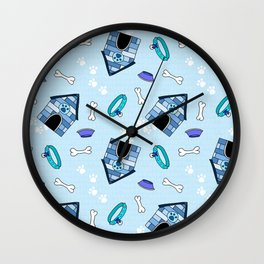 Dog Paradise in Blue Wall Clock