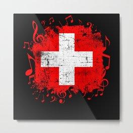 Switzerland Music Flag Metal Print