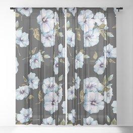 BLUE FLOWERS WATERCOLOR Sheer Curtain