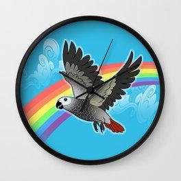 Rainbow bridge african grey parrot Wall Clock
