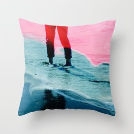 A girl and the sea Throw Pillow