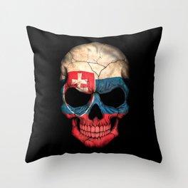 Dark Skull with Flag of Slovakia Throw Pillow