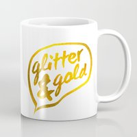 gold glitter Mugs featuring Glitter and Gold by Berberism