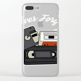 Never forget VHS, Floppy Disc and Cassette Tapes designs Clear iPhone Case