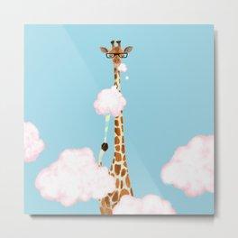 Giraffe Enjoy yummy Cloud Candy Metal Print