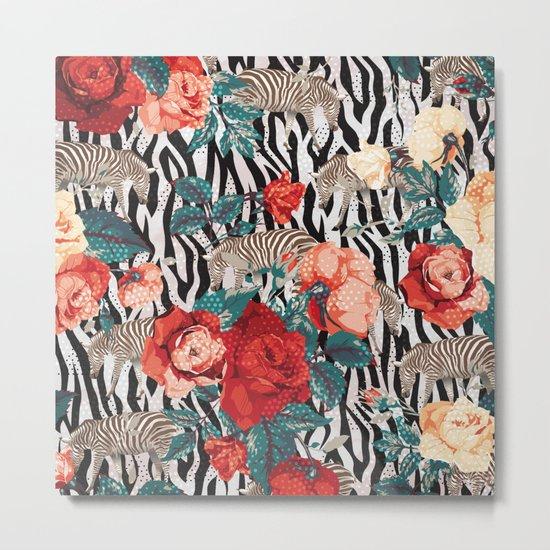Pattern flowers-animals Metal Print