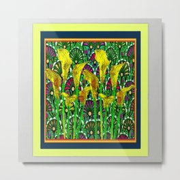 GREEN ART DECO YELLOW CALLA LILIES ART Metal Print