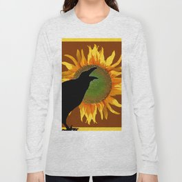 COFFEE BROWN CROW YELLOW SUNFLOWER FLORAL ART Long Sleeve T-shirt