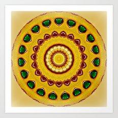 Golden Jewel with Emerald stones  Art Print