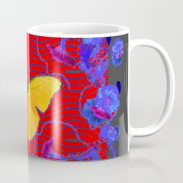 Red & Blue Yellow Butterflies Abstract Coffee Mug