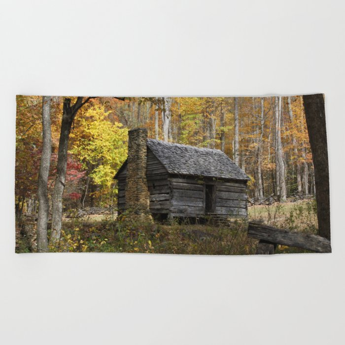 Smoky Mountain Rural Rustic Cabin Autumn View Beach Towel By Gsallicat