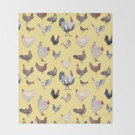 Chicken Happy (yellow) Throw Blanket