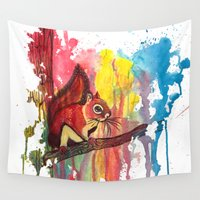 squirrel Wall Tapestries featuring Squirrel by Halfmoon Industries