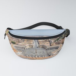 Saint Peter's Square in Vatican and aerial view of Rome Fanny Pack