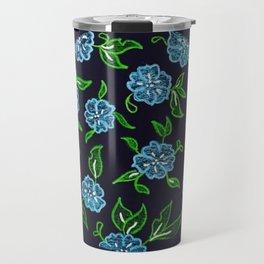 Blue Wildflower Pattern Circular Design Travel Mug