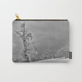 Solitary Snowy Tree in Black and White - Landscape Photography Carry-All Pouch