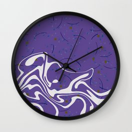 Violet Marbled Waves Swirled Effect Design Wall Clock