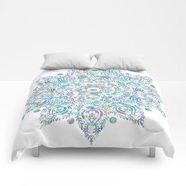 Mermaid Dreams Mandala on White Comforters