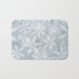 Snowflake pattern gray Bath Mat