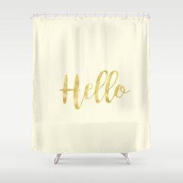 Hello in Golden Yellow on Cream Shower Curtain