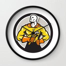 Plumber Superhero Monkey Wrench Circle Retro Wall Clock
