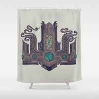 crown Shower Curtains featuring The Crown of Cthulhu by Hector Mansilla