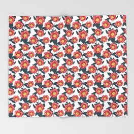 Pomegranate and hibiscus herbal pattern Throw Blanket