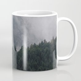 Twin Mountain Peaks Foggy Misty Pine Forest Landscape Photography Coffee Mug