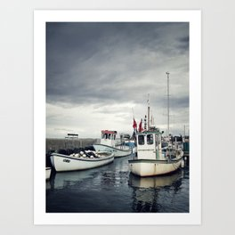 Harbored Fisher Boats Art Print