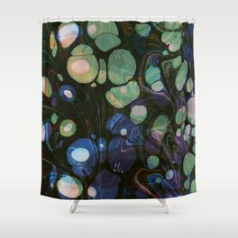 Abstract Painting - Marbling Art 01- Fluid Painting - Blue Green, Black Abstract - Modern Abstract Shower Curtain