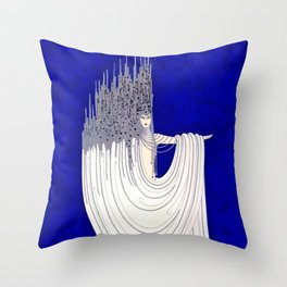 """North Sea"" Art Deco Design Throw Pillow"