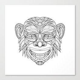 Chimpanzee Head Zentagle Canvas Print