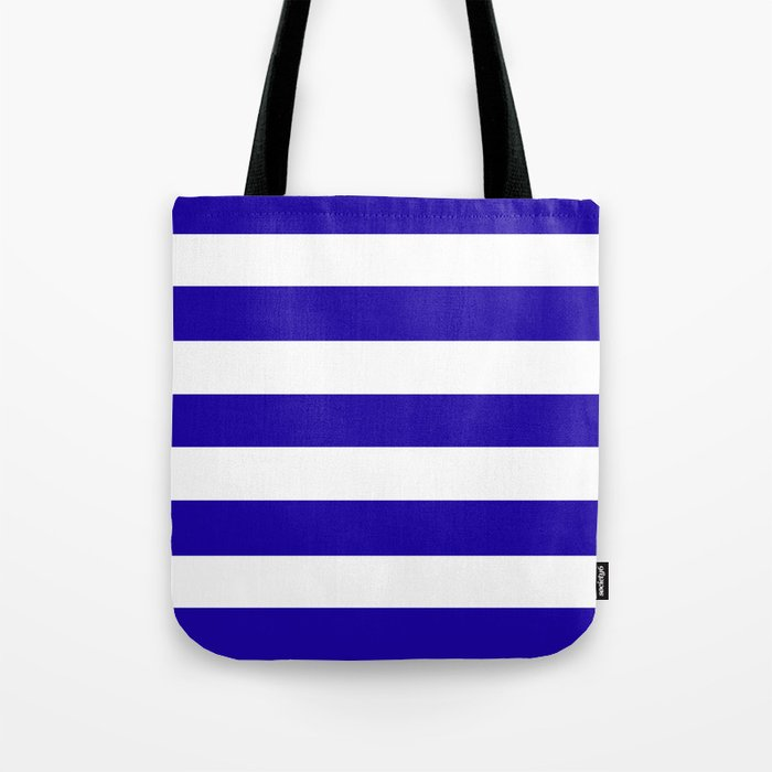 a460055fa5 Neon blue - solid color - white stripes pattern Tote Bag by makeitcolorful