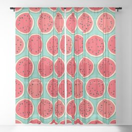 watermelon polka mint Sheer Curtain