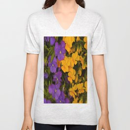 Purple and Yellow Pansies  Unisex V-Neck